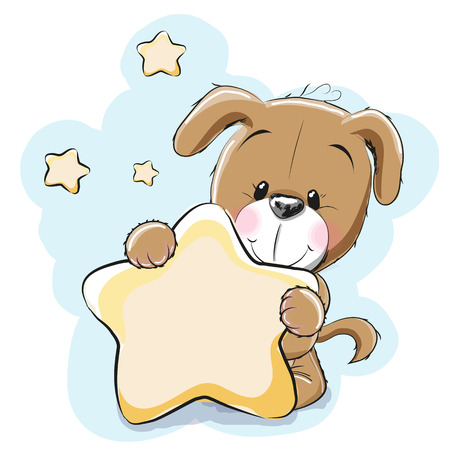 Dog with a Star on a stars background Stock Illustratie