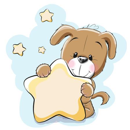 estrella caricatura: Perro con una estrella en un fondo estrellas