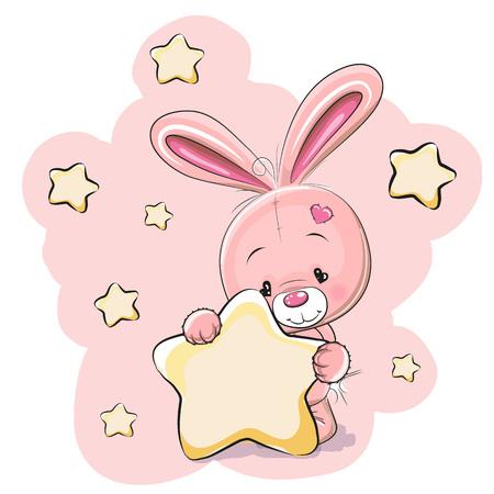 caricaturas de animales: Conejo con una estrella en un fondo estrellas Vectores