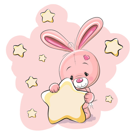 Rabbit with a star on a stars background Stock Illustratie
