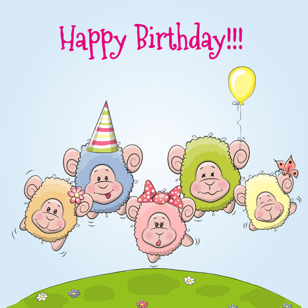 baby sheep: Birthday card cute Five sheep on a meadow Illustration