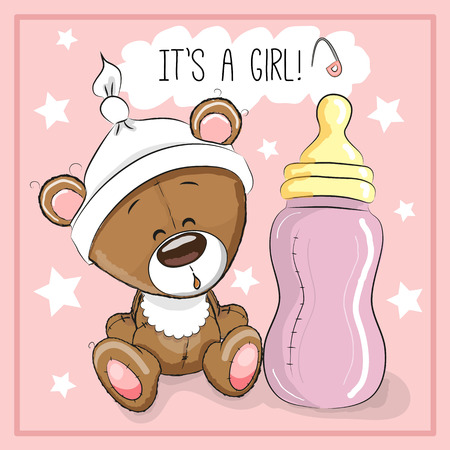 Cute Cartoon Teddy bear with feeding bottle Illustration