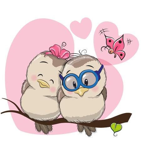 두 귀여운 만화 새들이 나뭇 가지에 앉아있다 일러스트