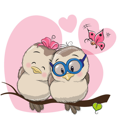 declaration: Two Cute Cartoon Birds is sitting on a branch Illustration