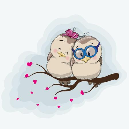 birds on branch: Two Cute Cartoon Birds is sitting on a branch Illustration