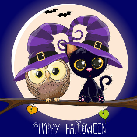 Halloween card Black Kitten and Owl on a branch Reklamní fotografie - 47686143