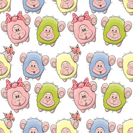bleating: Cute Sheep seamless pattern for your design Illustration