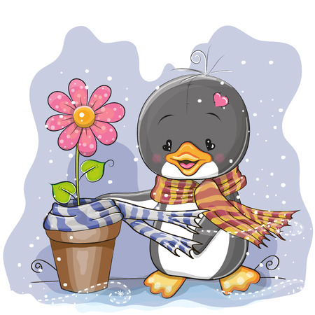christmas cartoon: Cute Cartoon Penguin wears a scarf on a flower Illustration