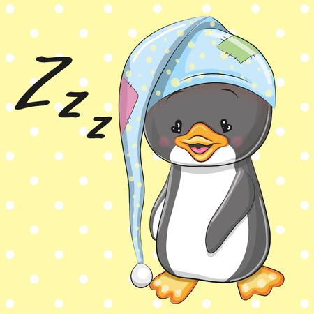Nette Karikatur-Schlafen Penguin in einer Haube Standard-Bild - 47935231