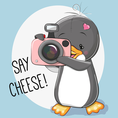 Cute cartoon Penguin with a camera on a gray background