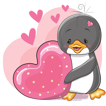 baby illustration: Greeting card cute cartoon Penguin with heart Illustration