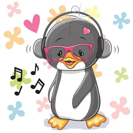 花の背景にヘッドフォンでかわいい漫画ペンギン