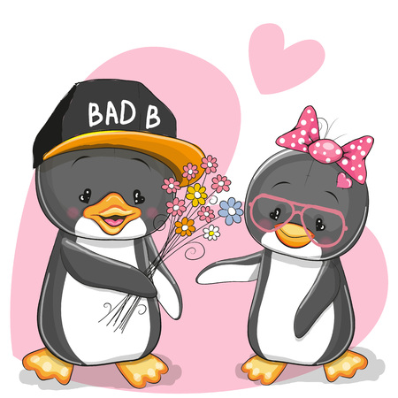 greeting cards: Greeting card with two Penguins and flowers