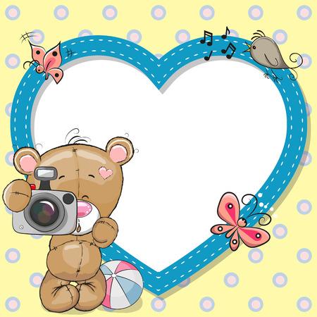 Cute cartoon Bear with a camera and a heart frame