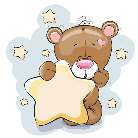 Teddy Bear with Star on a stars background Vettoriali