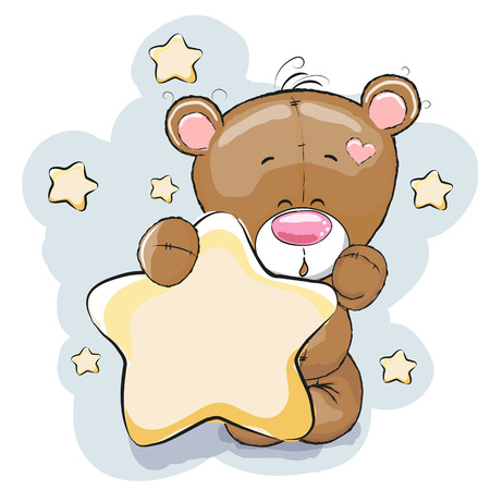 oso caricatura: Oso de peluche con la estrella en un fondo de estrellas Vectores