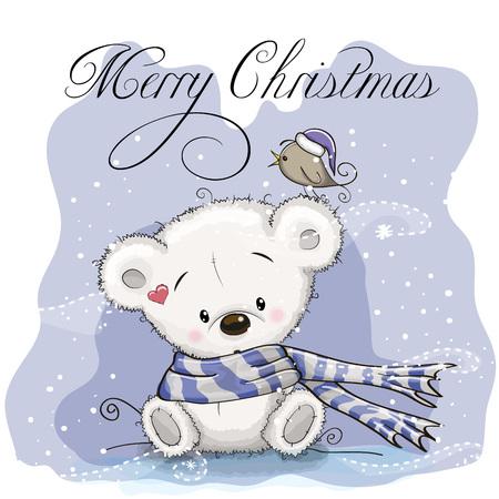 animal cartoons: Greeting Christmas card with Cartoon Polar Bear