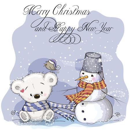 Greeting Christmas card with Teddy Bear and Snowman