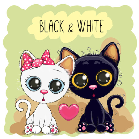 Two Cute Cartoon Cats Black and White Stock Illustratie