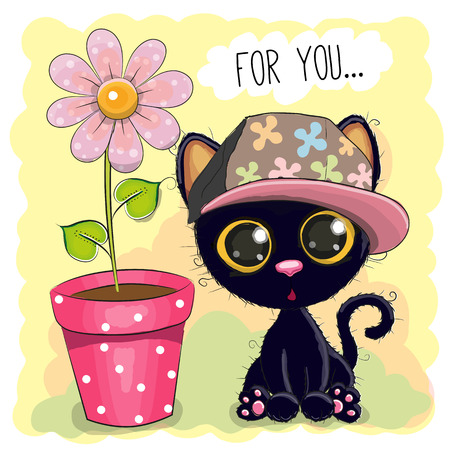 Greeting card Cute Cartoon Kitten with a flower
