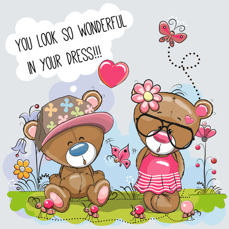 cartoon bear: Valentine card with Lovers Teddy Bears on the meadow