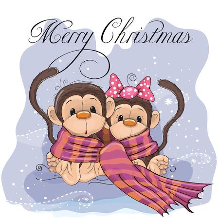 Tarjeta de felicitación de Navidad dos monos envuelve para arriba en una bufanda