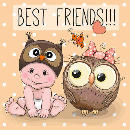 Cute Cartoon Baby in a Owl hat and Cute owl