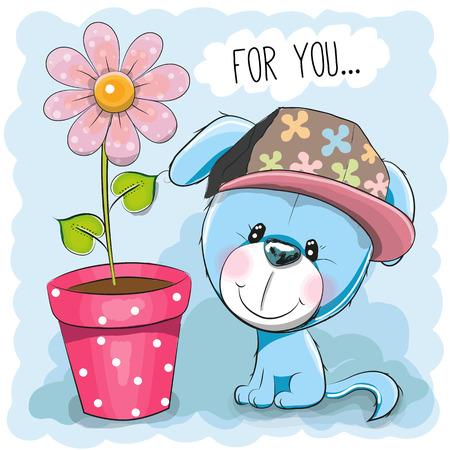 flor caricatura: Tarjeta de felicitación del perrito de la historieta linda con la flor