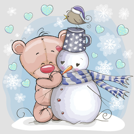 teddy bear christmas: Cute Cartoon Teddy Bear and a Snowman