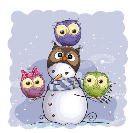 oiseau dessin: Bonhomme de neige mignon dans un chapeau et trois hiboux hibou