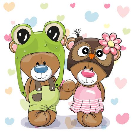 rana: Dos osos lindos de la historieta en un sombrero de la rana y el sombrero del b�ho Vectores