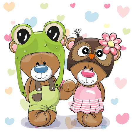 Two Cute Cartoon Bears in a frog hat and owl hat