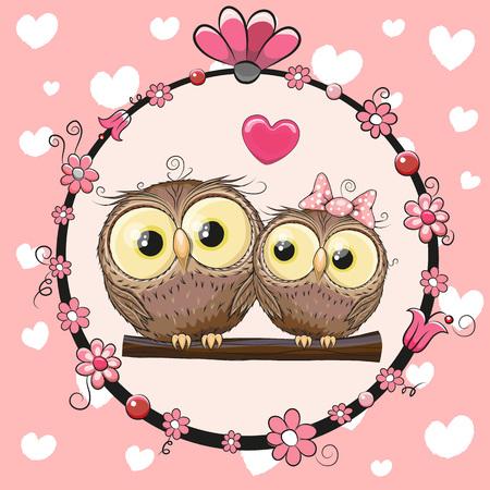 dessin coeur: Carte de voeux avec Deux hiboux mignons Cartoon