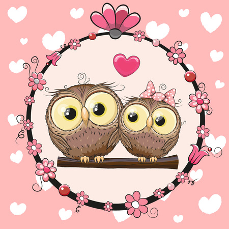 cute: Greeting card with Two cute Cartoon Owls Illustration