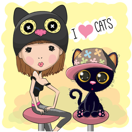 cute girl: Cute Girl in a cat hat with kitten