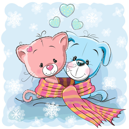 Greeting Christmas card Kitten and Puppy wrap up in a scarf Illustration