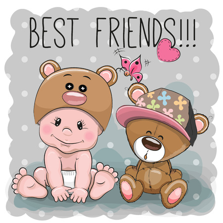 Cute Cartoon Baby in a Bear hat and Teddy Bear