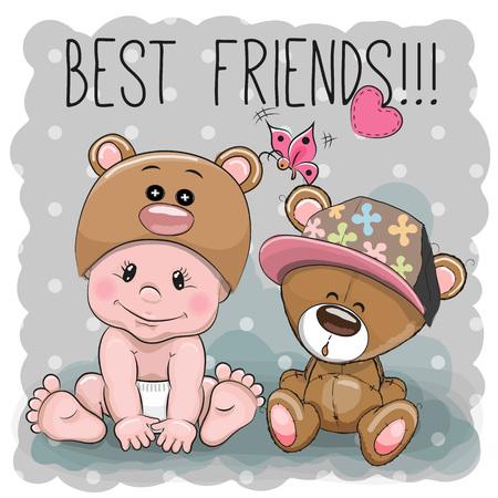 Leuke Baby van het beeldverhaal in een Bear hoed en Teddy Bear