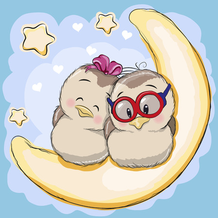 star cartoon: Two Cute Birds is sitting on the moon