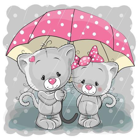 Two cute cartoon kittens with umbrella under the rain