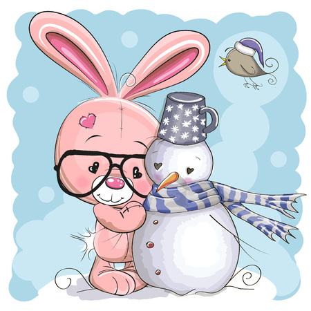 pajaro caricatura: Conejito lindo de dibujos animados con gafas y un muñeco de nieve