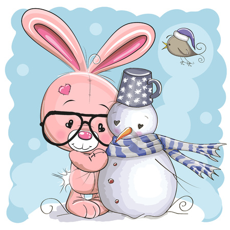 Cute Cartoon Bunny with glasses and a Snowman