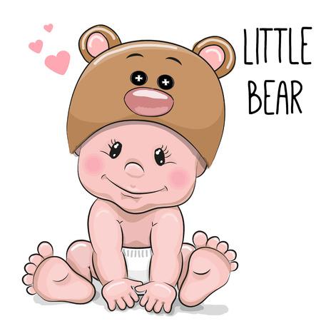 Leuke jongen van de baby van het beeldverhaal in een Bear hoed op een witte achtergrond Vector Illustratie