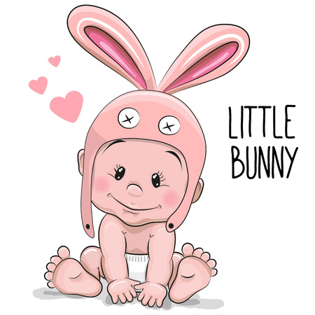 嬰兒: 可愛的卡通男嬰在兔子的帽子在白色背景上