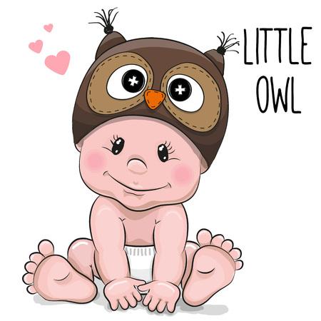 흰색 배경에 올빼미 모자에 귀여운 만화 아기 소년