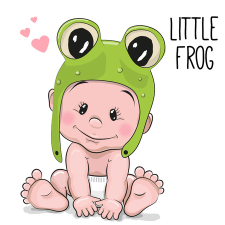 one people: Cute Cartoon Baby boy in a frog hat on a white background
