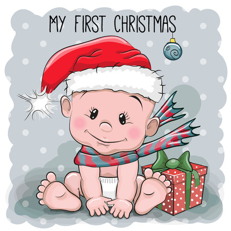 Cute Cartoon Baby in a Santa hat on a gray background Çizim