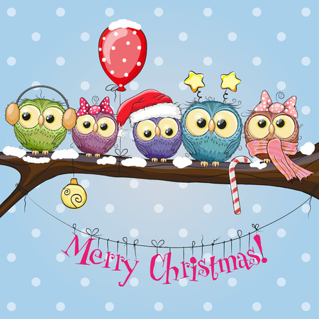 cartoon stars: Greeting Christmas card Five Owls on a branch with balloon