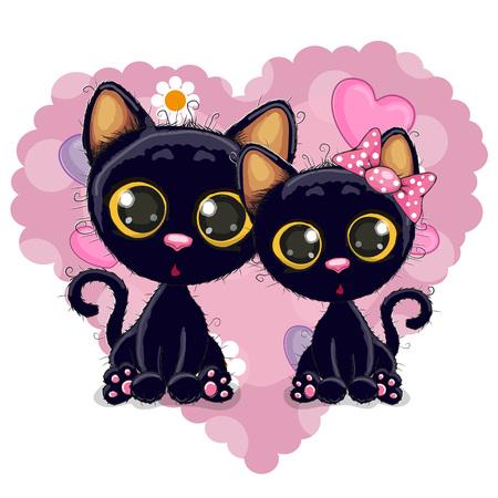kitten cartoon: Two Cute Kittens on a background of heart Illustration