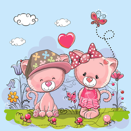 cheerful cartoon: Valentine card with Lovers Kittens on the meadow